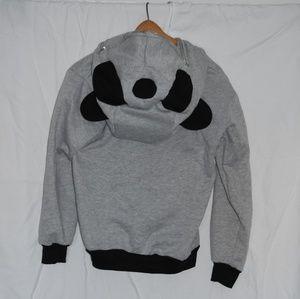 Gray Panda Hoodie Long Sleeve Sweatshirt Mask Zip